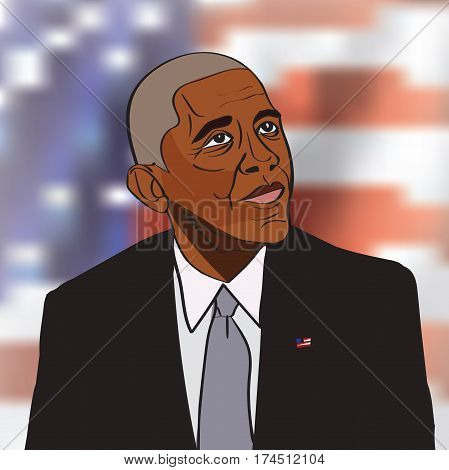 4 March, 2017: 44th US President Barack Obama drawing vector portrait
