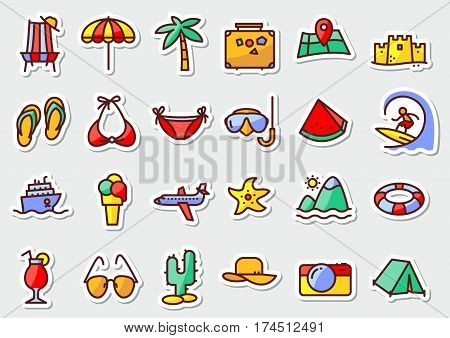 Summer beach icons stickers in line thin and simply style. Pictogram with recreation travel and vacation objects. Vector illustrations collection with airplane ship fruits camping tent laggage palm idyllic landscape ice cream cocktails