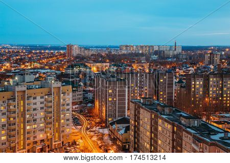 Night Voronezh cityscape from rooftop. Residential dormitory area