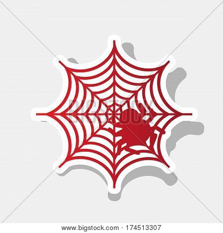 Spider on web illustration Vector. New year reddish icon with outside stroke and gray shadow on light gray background.