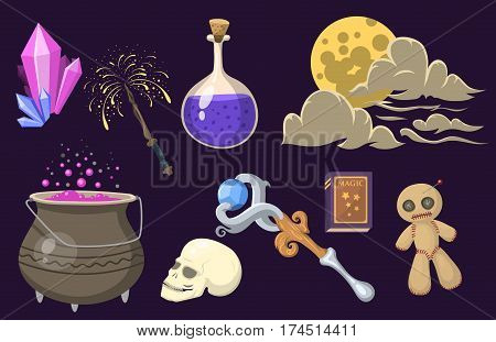 Special magic effect trick symbol magician wand and surprise entertainment fantasy carnival mystery tools cartoon miracle decoration vector illustration. Fun witchcraft spell event sign.