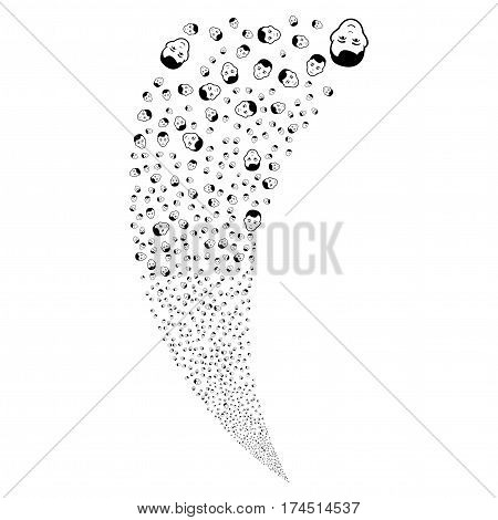 Man Head random fireworks stream. Vector illustration style is flat black iconic symbols on a white background. Object fountain made from scattered symbols.