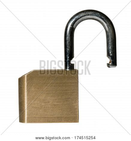 Close shot of a solid brass padlock with hardened hasp with path and isolated against white background