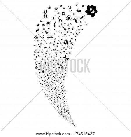 Microbes random fireworks stream. Vector illustration style is flat black iconic symbols on a white background. Object fountain done from scattered icons.