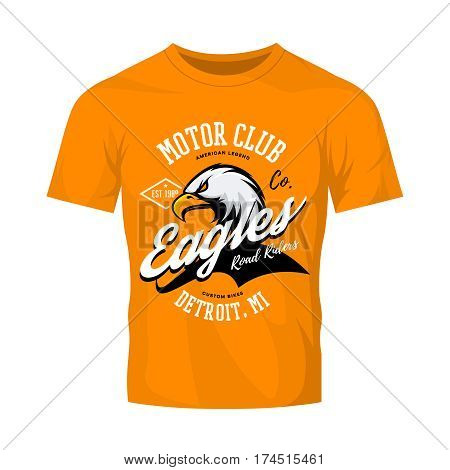 Vintage American furious eagle custom bike motor club tee print vector design isolated on orange t-shirt mockup.  Michigan, Detroit street wear t-shirt emblem. Premium quality wild bird superior logo concept illustration