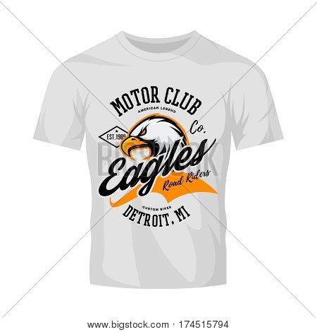 Vintage American furious eagle custom bike motor club tee print vector design isolated on white t-shirt mockup.  Michigan, Detroit street wear t-shirt emblem. Premium quality wild bird superior logo concept illustration.