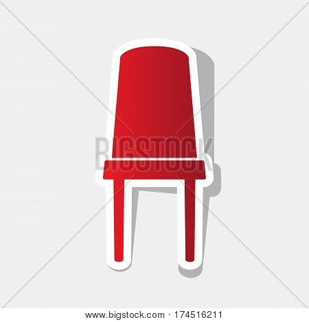 Office chair sign. Vector. New year reddish icon with outside stroke and gray shadow on light gray background.