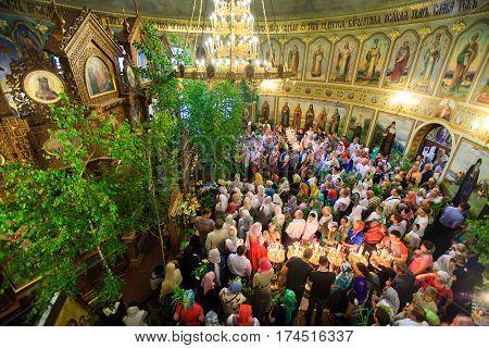 Kiev. Vvedensky Monastery. 19.06.2016. Trinity Holiday. Inside The Church Of The Trinity.