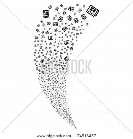Newspaper random fireworks stream. Vector illustration style is flat black iconic symbols on a white background. Object fountain constructed from scattered pictographs.