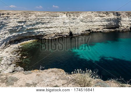 Seascape, beautiful views of the rocky cliffs to the sea, Tarhankut, Crimea, Ukraine