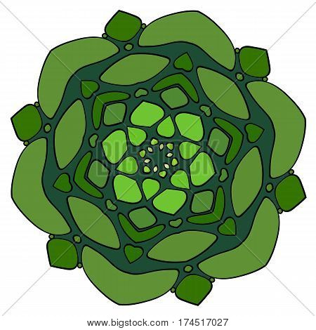 Mandala of stylized rocks. Green symmetrical pattern in a circle. Graphic rosette for the album. Element for creating a landscape. Stylized cauliflower.