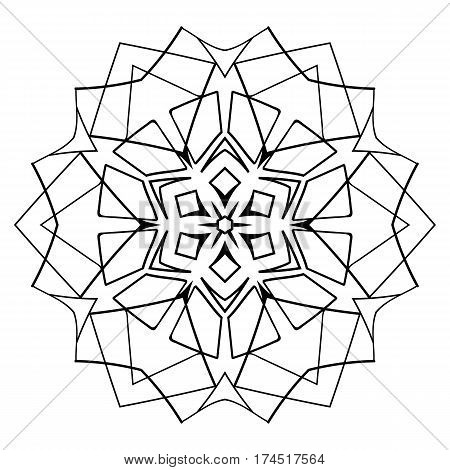 Monochrome Mandala. The template for the album. Symmetrical ornament for color book. Beautiful outline for coloring. Islamic motif in a circle.