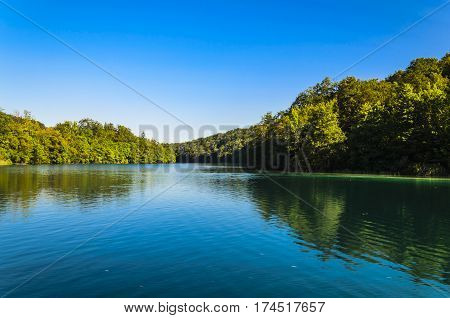 landscape of plitvicka lake national park at sunset unesco heritage site plitvice croatia.