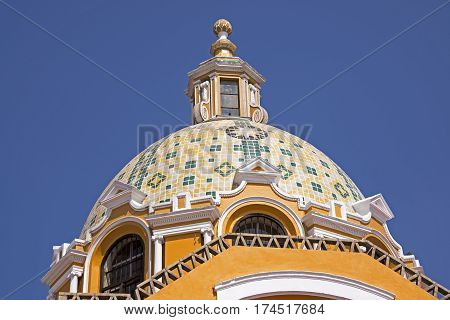 Partial view of the cupola of the Nuestra Senora de los Remedios Church in Cholula Mexico