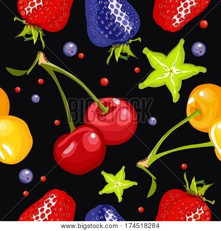 berry seamless pattern on a black square background with ripe cherries cherry carom strawberries