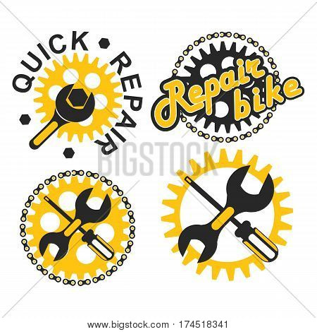 Vector illustration set of round badges signs fast technical assistance service bicycle repair on a white background