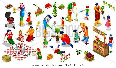 Farmer Man and Kids Planting Tree. 3D Isometric People Country Family Icon Set. Outdoor Family Bbq Party. Child Market Stand Display Fruit and Vegetables. Farming Vector Illustration