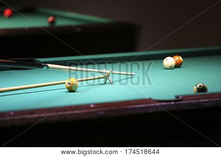 Billiard. Hand With Cue Prepare Hit A Ball