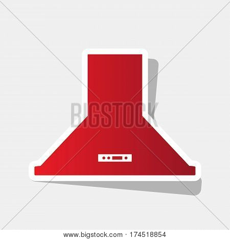 Exhaust hood. Kitchen ventilation sign. Vector. New year reddish icon with outside stroke and gray shadow on light gray background.