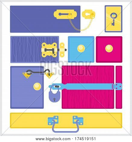 Furniture fittings. Door furniture and accessories on wooden board