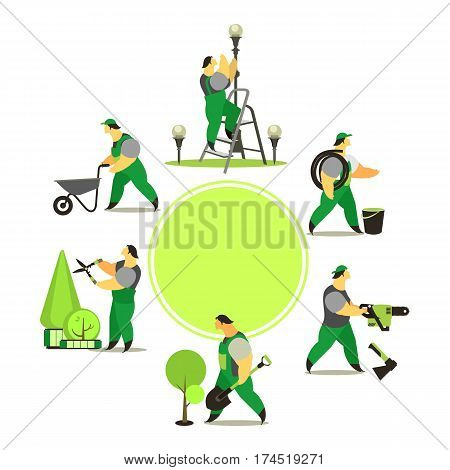 vector illustration set of farmers using agricultural tools for the care of parks and gardens growing crops Ready for a text