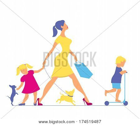 Woman with two children and dogs. Super mother doing shopping and walks with children