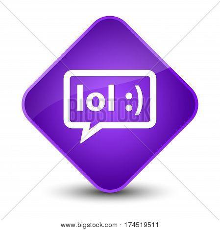 Lol Bubble Icon Elegant Purple Diamond Button