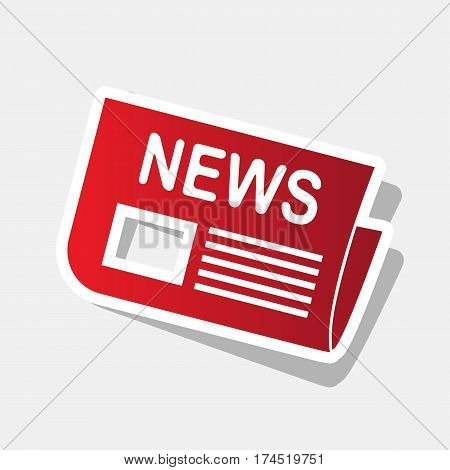 Newspaper sign. Vector. New year reddish icon with outside stroke and gray shadow on light gray background.