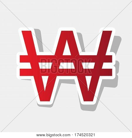 Won sign. Vector. New year reddish icon with outside stroke and gray shadow on light gray background.