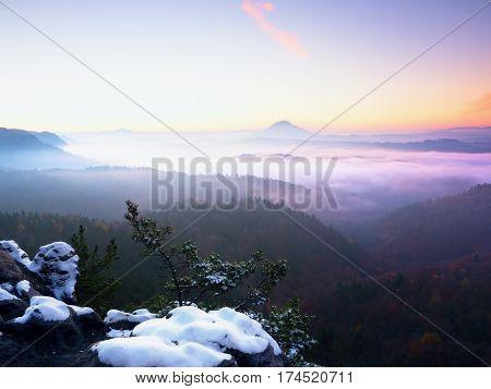 Freeze Autumnal Daybreak, Rocks Covered With Fresh Powder Snow. Stony Rock