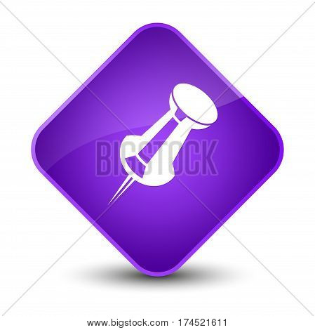 Push Pin Icon Elegant Purple Diamond Button