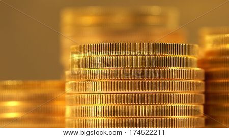 Gold Eagle one ounce coins stacked on top of other valuable coins