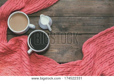Cups Of Coffee On Dark Wooden Background.