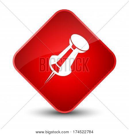 Push Pin Icon Elegant Red Diamond Button