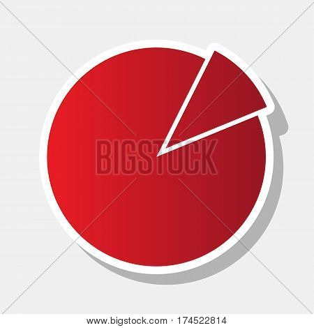 Finance graph sign. Vector. New year reddish icon with outside stroke and gray shadow on light gray background.