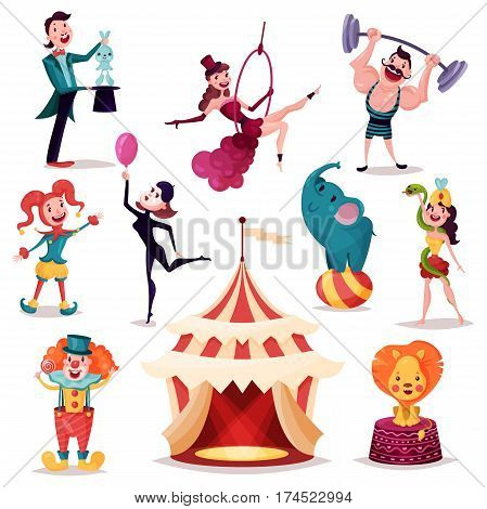 Circus tent, camp or amusement arena. Lion and elephant on ball, strong man with barbell on rod, magician or conjurer, illusionist and prestidigitator, woman in ring or with snake, clown. Performance