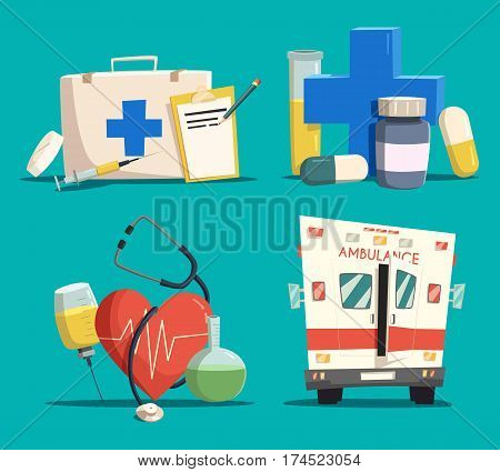 Ambulance or emergency car or bus, first aid kit with syringe and tablet or lozenge, cross and pill, tube or flask, jar and heart with pulse and stethoscope. Medicine or healthcare, pharmacy, doctor