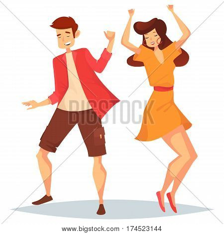Woman with raised hands and man dancing. Girl with earrings in dress and dancer in shorts and t-shirt having a dance. Music and party, dance floor and disco or discotheque, people social event theme