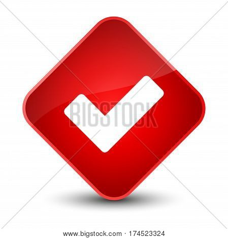 Validate Icon Elegant Red Diamond Button