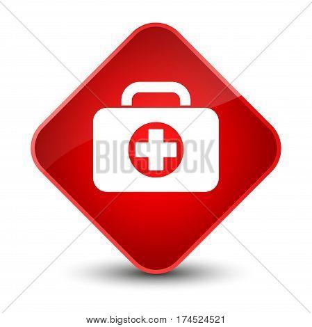 First Aid Kit Bag Icon Elegant Red Diamond Button