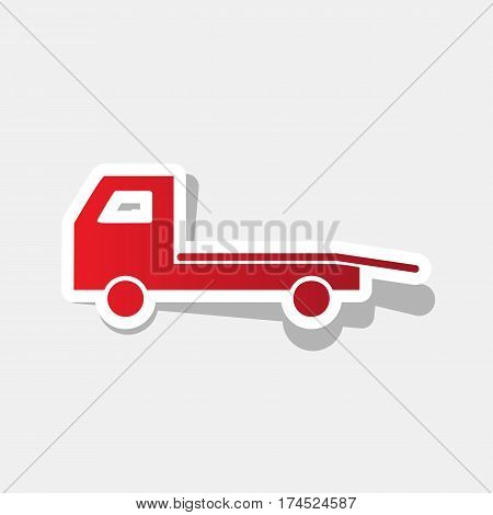 Service of evacuation sign. Wrecking car side. Car evacuator. Vehicle towing. Vector. New year reddish icon with outside stroke and gray shadow on light gray background.