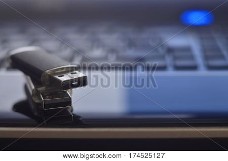 Memory Cards On The Laptop Keyboard