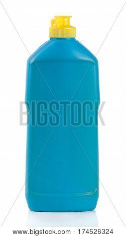 bottle of dishwashing detergent isolated on white background.