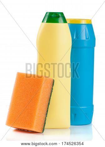dishwashing detergent with sponge isolated on white background.