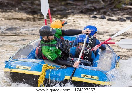 Llangollen Wales UK - January 28 2017: White water rafting a popular team building or group activity on the river Dee or Afon Dyfrdwy