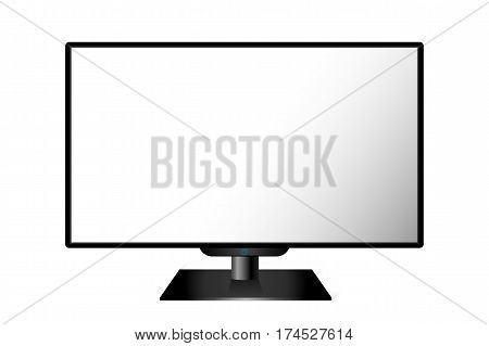 Realistic Black Modern Tv Monitor Isolated. Vector Illustration