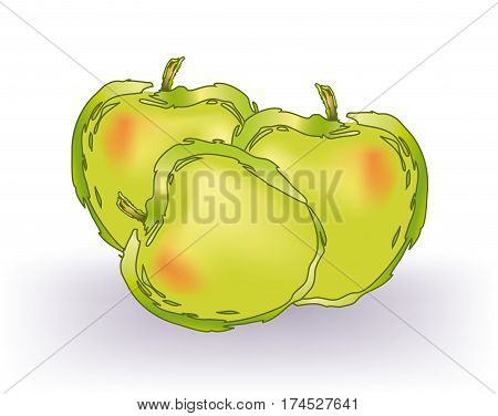 Abstract golden delicious apples on white background
