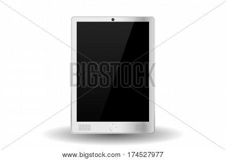 White Modern Tablet Pc Isolated. Vector Illustration