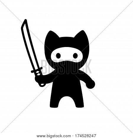 Cute cartoon ninja cat with katana sword. Adorable vector black and white cat illustration in simple minimal Japanese style.