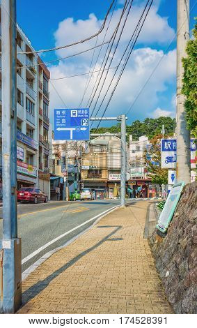 ATAMI, SHIZUOKA PREFECTURE, JAPAN - OCTOBER 27, 2012:Typical street view in Atami, a historic city in the Shizuoka prefecture, Japan